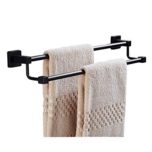 Turmständer-HOHE Doppelter Handtuchstange Badezimmer 304 Edelstahl Handtuchhalter Wandmontage, schwarz, 6 Größen