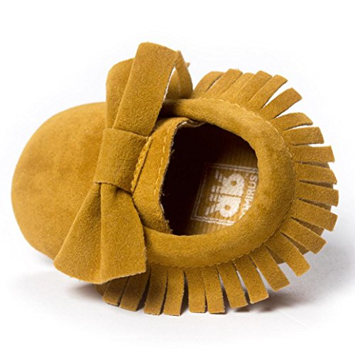 Chaussures premiers pas, WalshK Baby Tassels Bowknot Soft Chaussures Sneakers Chaussures Casual Jaune
