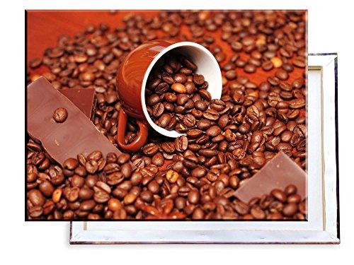 Unified Distribution Kaffebohnen mit Schokolade und Tasse - 80x60 cm - Bilder & Kunstdrucke fertig auf Leinwand aufgespannt und in erstklassiger Druckqualität -