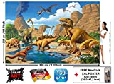 Aventure Dinosaure murale chambres enfants Décoration murs comiquel aventure Dino mondiale style jungle cascade Dinosaurus comme photo fond écran murale photo mur Décorer par GREAT ART (336 x 238 cm)
