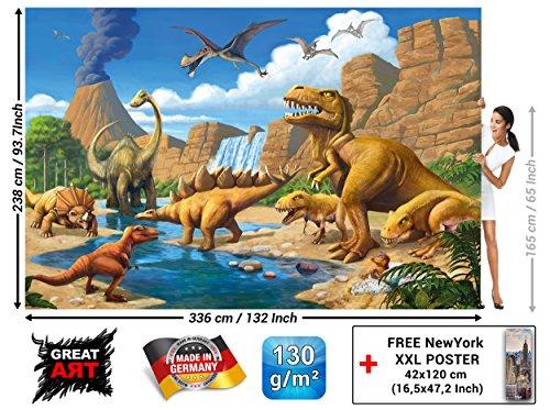Great Art Fototapete - Kinderzimmer Abenteuer Dinosaurier - Wandbild Dekoration Dinowelt Comic Style Jungle Adventure Dinosaurus Wasserfall Foto-Tapete Wandtapete Fotoposter (336 x 238 cm)