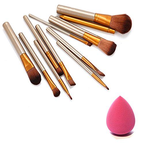 Pinceaux De Maquillage Mis 12 Sourcils Lèvres Fondation Poudre Eyeliner Brosses 1 Puffs