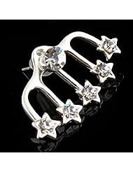 1 Chic Argent Plaqué Étoiles à Cinq Branches Clip d'Oreille Boucle d'Oreille en Faux Diamant