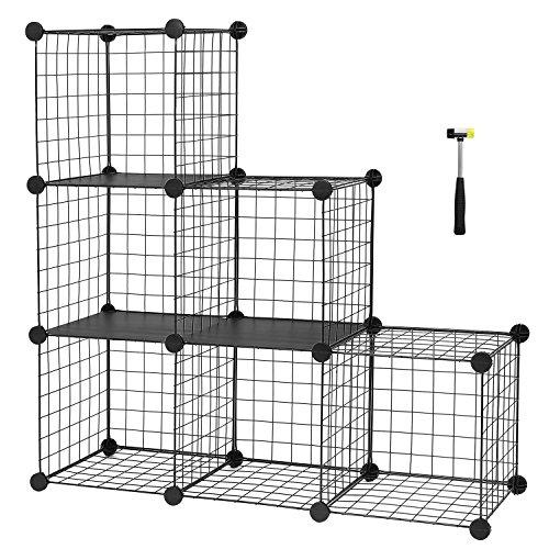 SONGMICS Steckregal aus Drahtgitter individuell aufstellbar Cube Sideboard Regalschrank 93 x 93 x 31 cm (B x H x T) Schwarz LPI111H (Metall Sideboard)