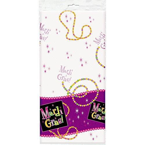 Mardi Gras Beads Plastic Tablecloth, 84