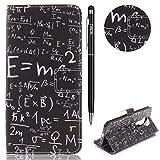 WIWJ Schutzhülle für Moto E5 Handyhülle Leder Case für Moto E5 Hülle Lederhülle Flip Wallet Cover [Gemalt Kartentasche Ledertasche]Hülle für Moto E5-Mathematische Forme
