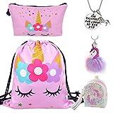 DRESHOW 5 Pack Unicorn Geschenke für Mädchen Unicorn Kordelzug Rucksack/Make Up Bag/Halskette/flauschige Schlüsselanhänger/Armband Geschenk-Sets für Party Weihnachten