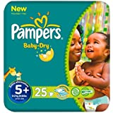 Pampers Baby Dry Size 5 + (13-27kg) Carry Packx 25 per pack by Pampers