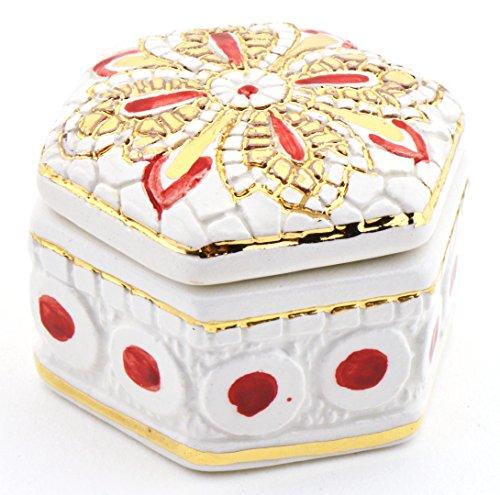 Art Escudellers BOÎTE HEXAGONALE Multicolore en céramique Peinte à la Main avec Or 24K, décoré en Style Byzantine Blanc. 6cm x 5cm x 4cm