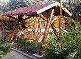 Casa Padrino Garten Schaukel Rustikal überdacht Hollywood Schaukel Mod S1 - Eiche Massivholz - Echtholz Massiv