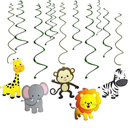 (MAFENT Dschungel Tier Hängen Schwenken Dekorationen Löwe Zebra Elefanten Affe Giraffe für Baby Kindergarten Kinder Party Lieferungen (30 stück))