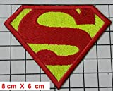 Superman Comic Logo Kids Patch ''8,6 x 6 cm '' - Aufnäher Aufbügler Applikation Applique Bügelbilder Flicken Embroidered Iron on Patches