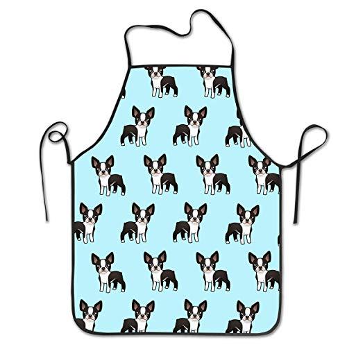Cute Terrier Kostüm Boston - HTETRERW Garden Apron, Durable Polyester Bib, Kitchen Aprons for Dishwashing, Dog Grooming and Cleaning Fish, Water Drop Resistant Unisex Bib, Cute Boston Terrier es