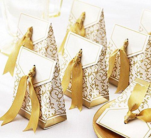 Global Brands Online 50pcs cajas de papel caja de regalo de boda del partido de chocolate de regalo de dulces de caramelo de la boda creativas