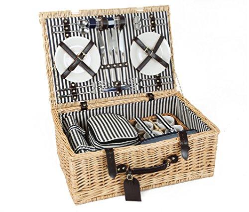 Greenfield Collection (HP001) Deluxe Cheltenham Picknickkorb für 4 Personen, Weide, gestreiftes Futter: Mitternachtsblau - Weiß gestreift