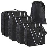 HOMFA Organizzatore da Viaggio 5 Set di Sistema di Cubo di Campeggio, Organizer Bagagli Sacchetto per Vestiti in Nylon, 4 Sacchetti + 1 Borsa Scarpe immagine