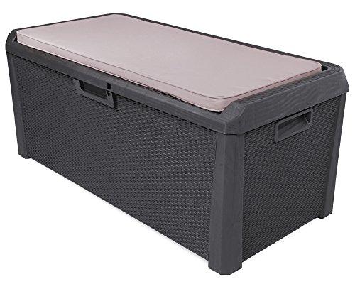 Ondis24 Kissenbox Santo Rattan Optik anthrazit Sitztruhe inkl. passender Auflage (beige) Auflagenbox 560 Liter XXL