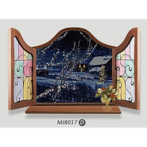 LLHZUO-8017un mundo-famoso Scenic spot 3D Venecia torre Eiffel fuera de ventana abierta pintoresco comedor sofá adhesivo de pared de fondo,8017D