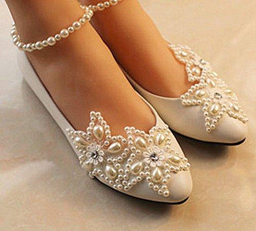 XINJING-S Ivory White Lace Wedding shoes Perlen Knöchel trap Bridal Wohnungen heels Größe 5-12 5,5 cm Keil, hellelfenbein