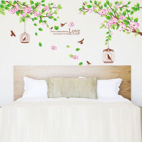 JinTie herausnehmbare Mauer Hibiskus Blume baum Wand Papier Poster an der Wand im Wohnzimmer und im Schlafzimmer tv-wand Aufkleber, die sich in der Nähe einiger Breite 170 cm hoch 70 cm, König - Hibiskus-blumen Papier