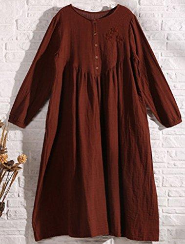 MatchLife Damen Vintage Embroidery Langarm Kleider Art3-Claret