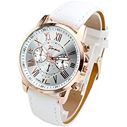 JS Direct Women's Fashion Analog Watch, PU Leather Band Rose Gold Tone -White