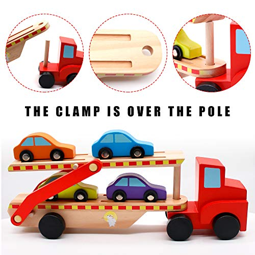 yoptote Wooden Double Decker Trailer Carrier Truck Model Car Transporter Toy Set with 4 Cars Vehicle Toys Present for Kids Age 3 4 5
