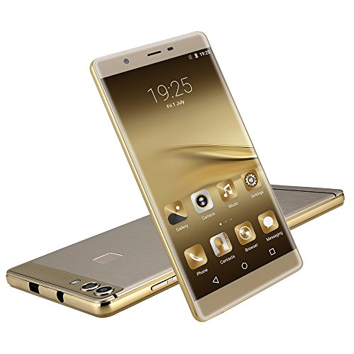 """Unlocked 6.0"""" Smartphone IPS Android 5.1 Lollipop Dual Sim Dual Standby MTK6580 Quad Core Cell Phone 1.3GHz GSM/WCDMA GPS Camera HD 5.0Mp 8GB ROM (Gold)"""