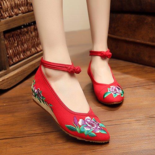 ZLL Fein gestickte Schuhe, Leinen, Sehnensohle, ethnischer Stil, weibliche Schuhe, Mode, bequem, Segeltuchschuhe , red , 41