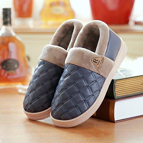 DogHaccd pantofole,Home pantofole in pelle home inverno uomini interiori di pantofole di cotone spessa femmina con anti-slip confezione impermeabile. Il blu3