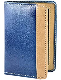 JMD Bifold Credit Card ATM Card Case Holder Leather Blue Best Gift For Yourself Or Your Loved Ones - 22 Card Slots
