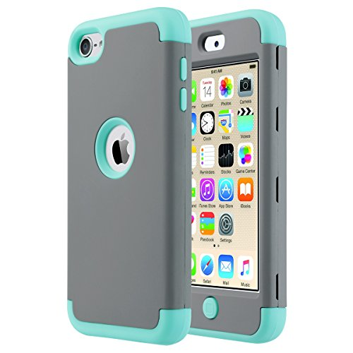 ULAK iPod Touch 6 Hülle 3 Layer Hybrid Combo Innere Weiche Silikon Hart Plastik Anti-stoß Schutzhülle Tasche Case Cover für Apple iPod Touch 5 6 Generation (F-Mint + Grau) (Apple Ipod Touch Fall)