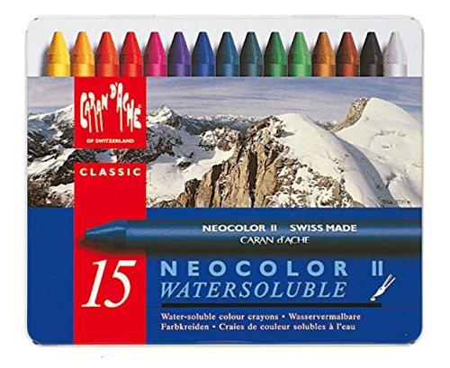 Preisvergleich Produktbild CARAN d'ACHE - NEOCOLOR II(2) Aquarelle Wachspastelle in Metallbox - 15 Stück