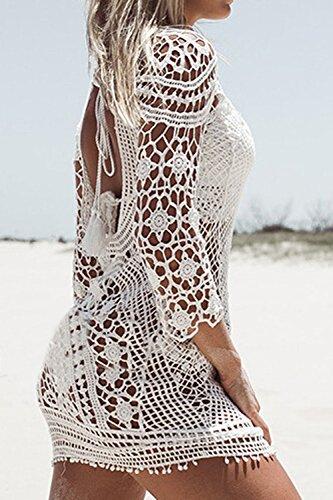 Donne Senza Maniche Una Mini Vestito Beachwear Insabbiamenti Costume Bikini White