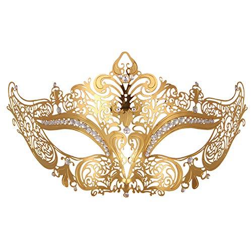 Designs Strass Tanz Kostüm - HHUMR Frauen Venedig Sexy Style Metall Filigrane Maske Mit Strass Kostüm Maskerade Maske Für Karneval, Anonym Venezianischen Karneval Maske Und Tanz,A