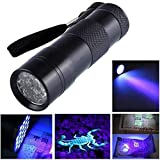 Black Mini Aluminum Uv Ultra Violet Torch 12Led Flashlight Blacklight Light Lamp Safety &Amp; Survival Z1030