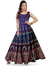 0a387381239 Khushi Print Women s Cotton Jaipuri Floral Print Long Maxi Dress  (Multicolour