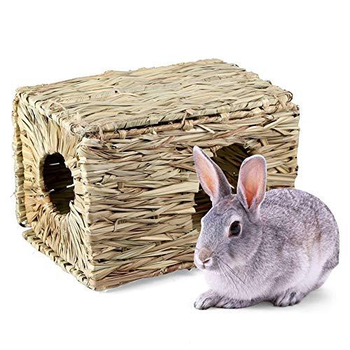 MoO1deer - Pajita de Hierba Tejida para Mascotas pequeñas, Conejo, hámster, caseta de Juguete para Masticar, Cama Plegable para Conejos, Chinchillas, cobayas y Otros Animales pequeños, Color Madera