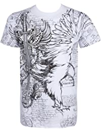 Sakkas Eagle,Sword and Chains Metallic Silver Embossed Short Sleeve Crew Neck Cotton Mens Fashion T-Shirt