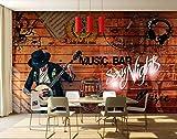 Moderno giovane strada graffiti chitarra musica pop piano rock bar KTV musica elettronica home decor colore creativo muro di mattoni colorato musica utensili sfondo della carta da parati-280x200cm