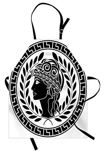 Toga-Party-Schürze, römische antike Schönheit Muse-Porträt-Patrizier-Frau Old Fashion-ästhetische Ikone, Unisexküchen-Latzschürze mit justierbarem Hals für das Kochen backende Gartenarbeit, Schwarz-We (Toga Für Römische Frauen)