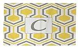 Manual carpinteros y tejedoras Dobby baño alfombra, 4by 182,88, monograma carta C, Amarillo en forma de panal