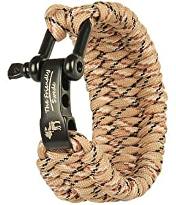 The Friendly Swede Trilobite Extra Beefy / Wide 500 lb Paracord Survival Bracelet With Stainless Steel Black Shackle - Best Fit 6 to 7-inch Wrists - Retail Packaging - Lifetime Warranty (Desert Camo)