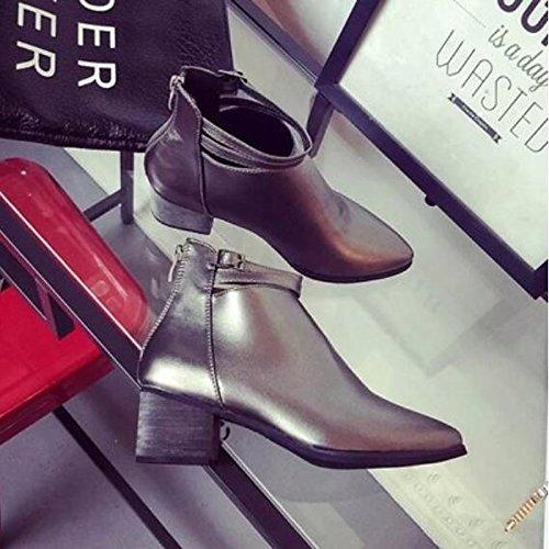 Hsxz Femmes Chaussures Pu Automne Hiver Confort Bottes Chunky Talon Toe Booties / Booties Vêtements Occasionnels Noir Argent Argent