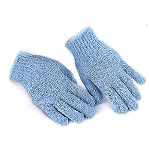 FACILLA® Paire Gants De Massage Friction Bleu Pour Douche Bain