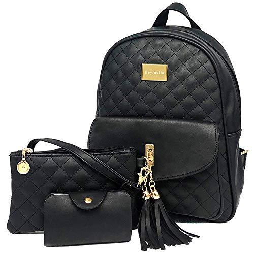 Beylasita® Moda Borsa Zainetto 3 in 1 Set Zaino Donna 3 pezzi Casuale Daypack Backpack in pelle PU con Clutch Portafoglio...