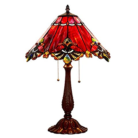 Bieye Tiffany Style Stained Glass Baroque Table Lamp with Zinc Lamp Base and 17 inches Handmade Lamp Shade (Wine Red)