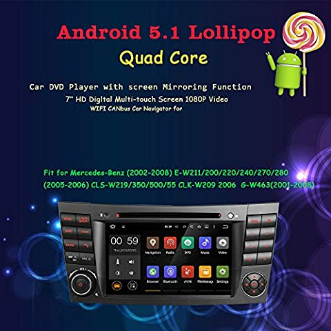 Android 5.1.1 Lollipop OS Lettore DVD da auto per Mercedes Benz E-Class 2002 2003 2004 2005 2006 2007 2008 W211 Car Stereo Radio DVD GPS Navigator 1080P Video capacitivo multi touch screen - Kit Fit Specchio