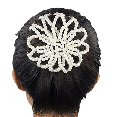 Women Hair Net Holder Elastic Faux Pearl Bun Cover Snood Hair Accessories