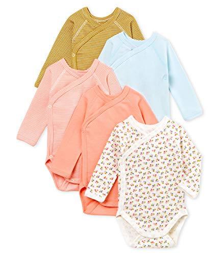 *Petit Bateau Baby – Mädchen Formender Body Naissance ML_4909600, 5er Pack, Mehrfarbig (Variante 1 00), 56 (Herstellergröße: 1M/54cm)*